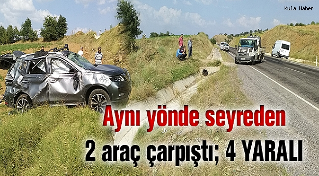 Aynı yönde seyreden 2 araç çarpıştı; 4 YARALI