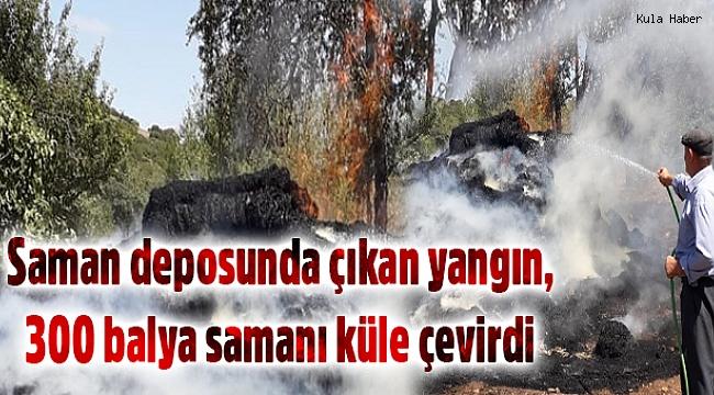 Saman deposunda çıkan yangın, 300 balya samanı küle çevirdi
