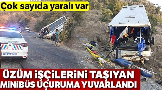 Üzüm işçilerini taşıyan minibüs uçuruma yuvarlandı: 15 yaralı