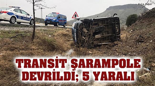 Transit şarampole devrildi; 5 yaralı