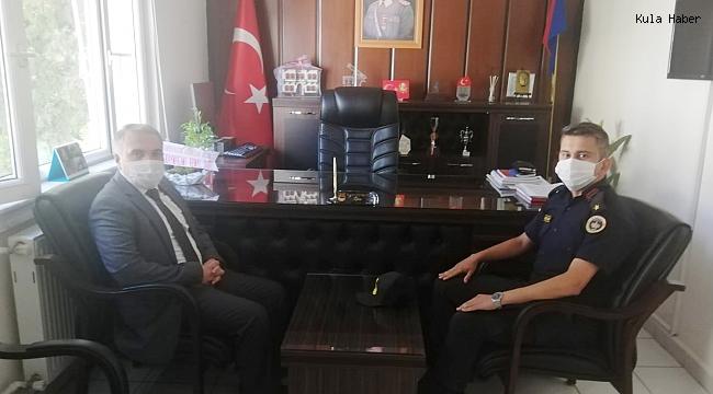 Kaymakam Duru'dan yeni Jandarma Komutanı Yarımçam'a ziyaret