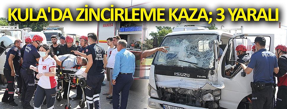 Kula'da zincirleme kaza; 3 yaralı
